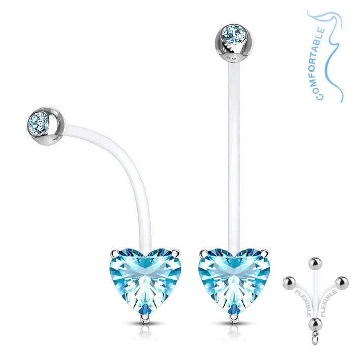 Aqua Prong Set Heart Pregnancy Belly Ring