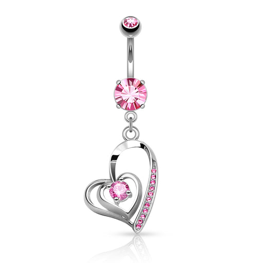 Double Heart Pink Belly Ring