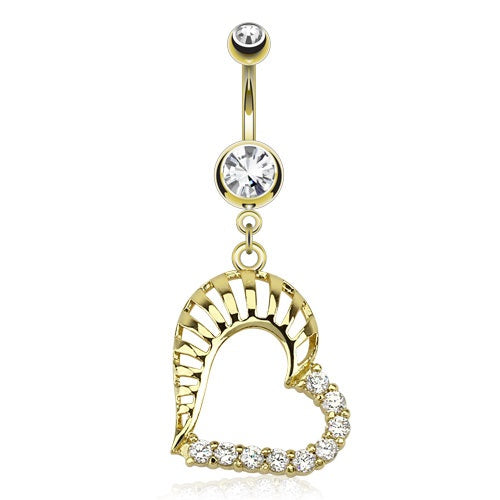 14KT Gold Plated Gemmed Heart Belly Ring