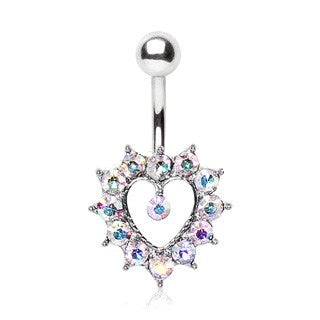 Iridescent Heart Belly Ring