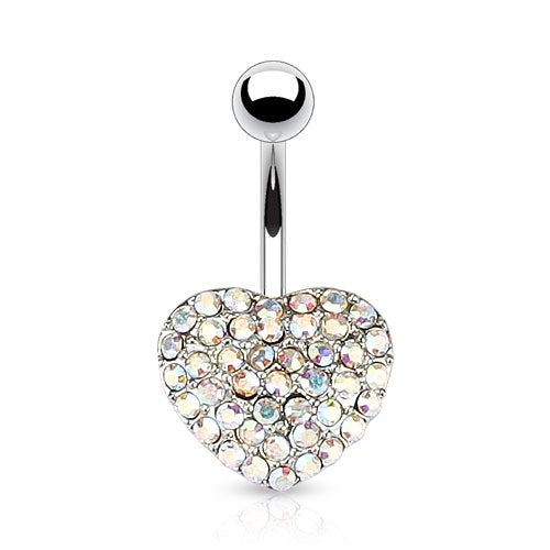 Multi Crystal Paved Heart Belly Ring