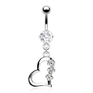 Clear Accented Heart w/ Gem