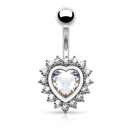 Heart Shape CZ Belly Ring
