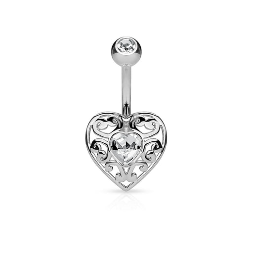 Filigree Heart Belly Ring
