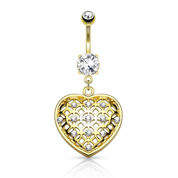 Crystal Set Tribal Net Heart Belly Ring