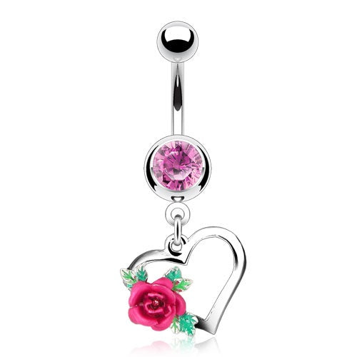 Heart with Rose Belly Ring - Pink