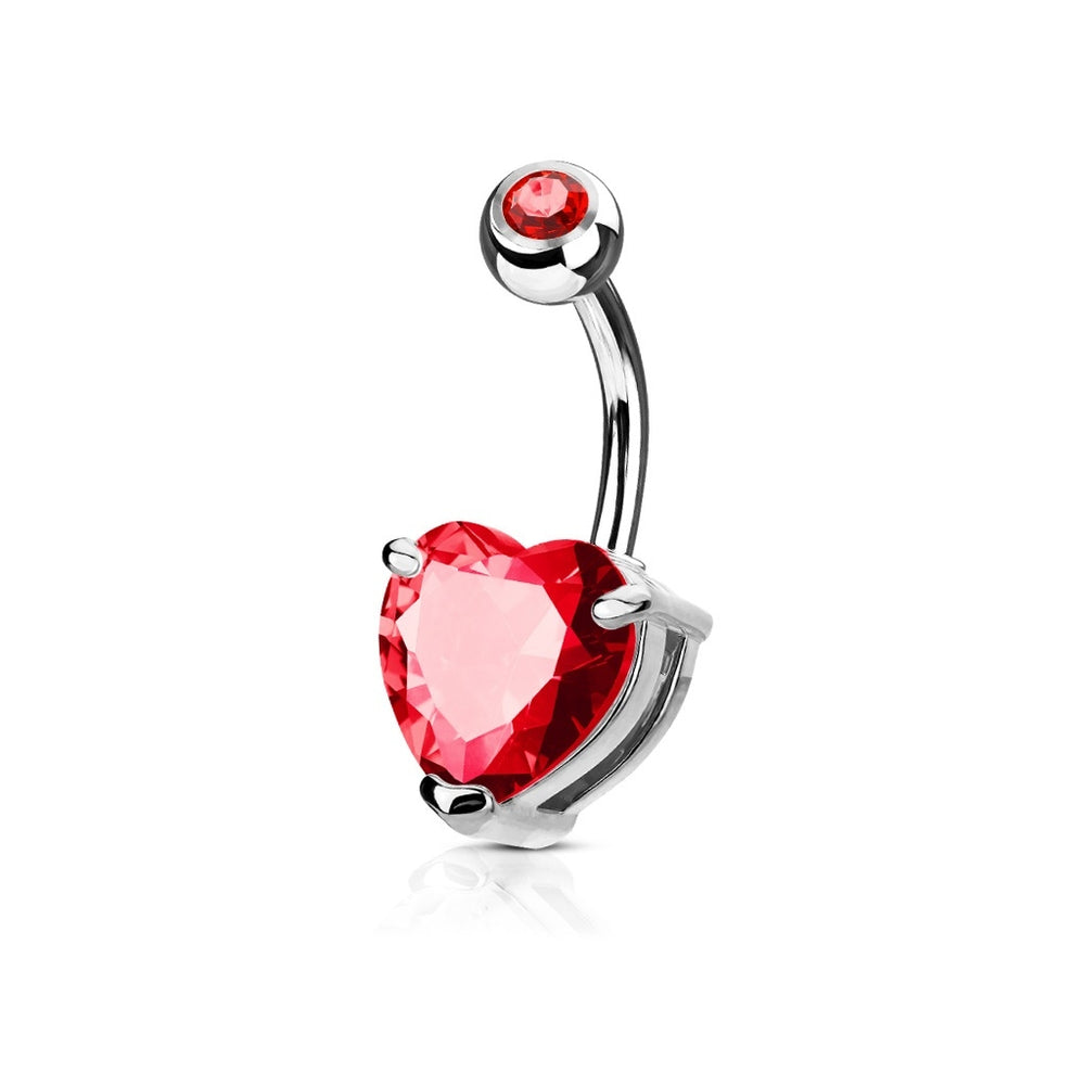 Red CZ Solitaire Heart Belly Ring