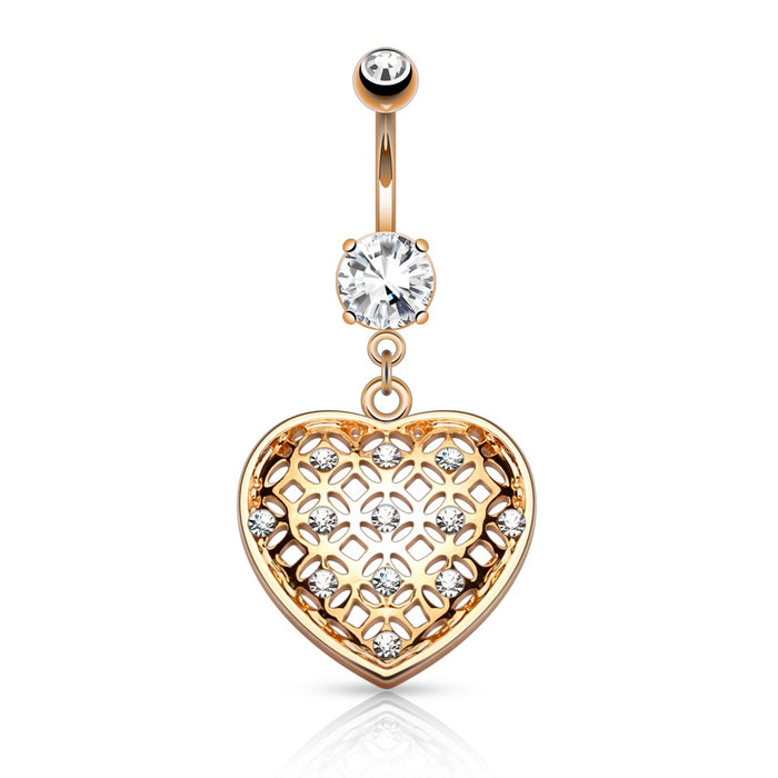 Crystal Set Tribal Net Heart Belly Ring - Rose Gold