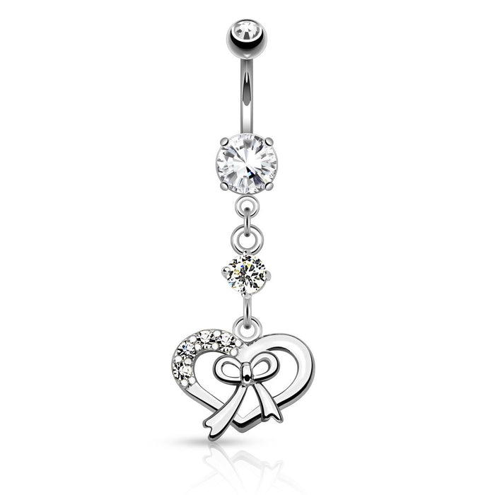 Silver Ribbon and Heart Belly Ring