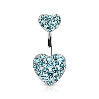 Double Hearts Belly Ring-Aqua