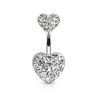 Double Hearts Belly Ring-Clear