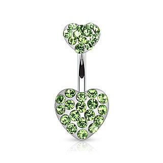 Double Hearts Belly Ring-Green