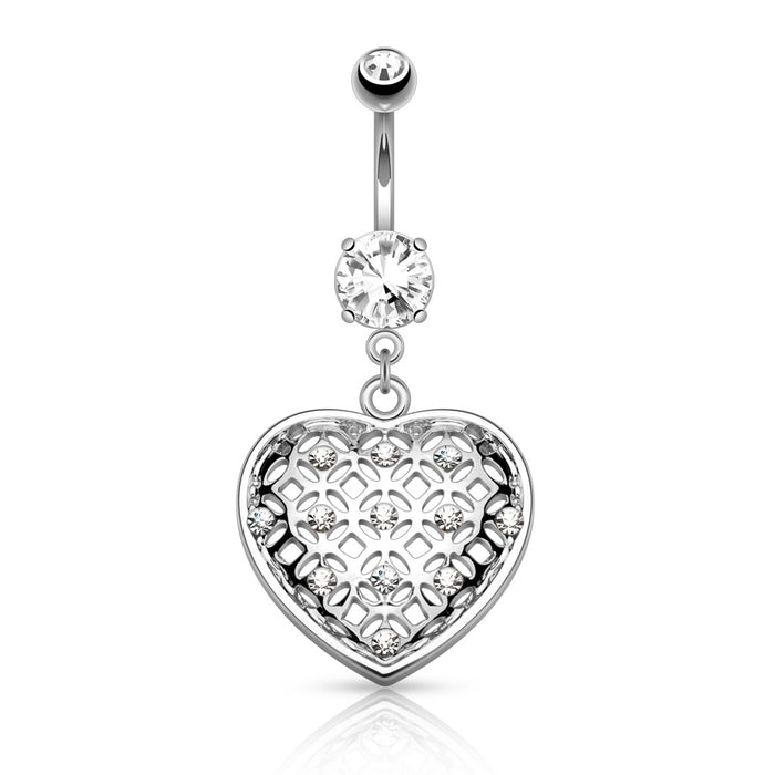 Crystal Set Tribal Net Heart Belly Ring - Silver