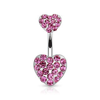 Double Hearts Belly Ring-Pink