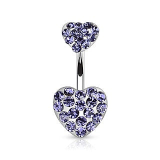 Double Hearts Belly Ring-Purple