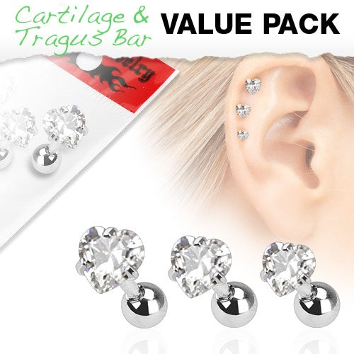 3 Pack Cartilage Rings with Clear Hearts