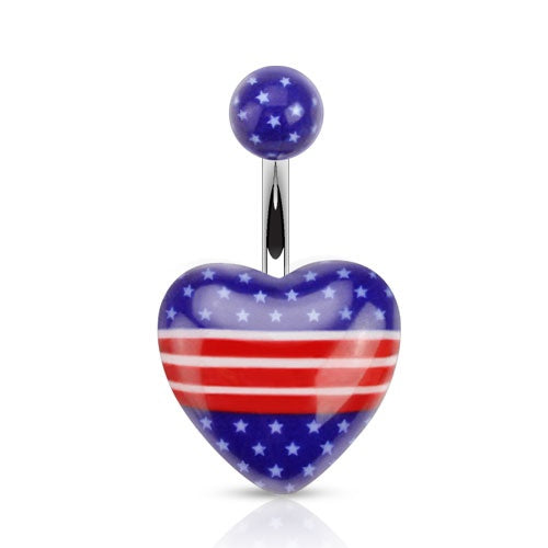 Heart American Flag Belly Ring