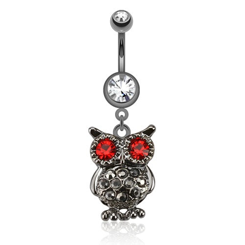 Hematite Owl with Gemmed Eyes Belly Ring