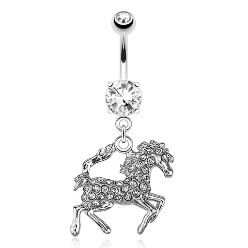 Horse with Clear Paved Gems Belly Ring