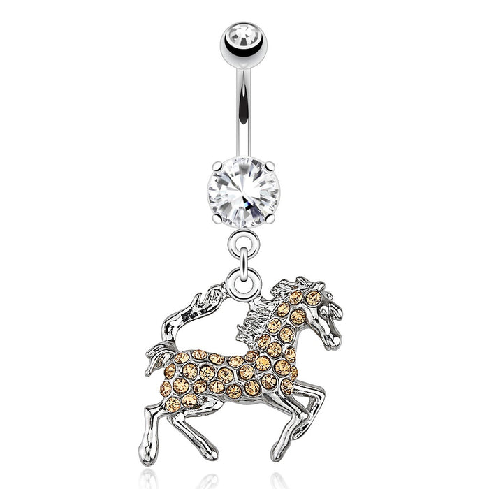 Horse with Peach Paved Gems Belly Ring