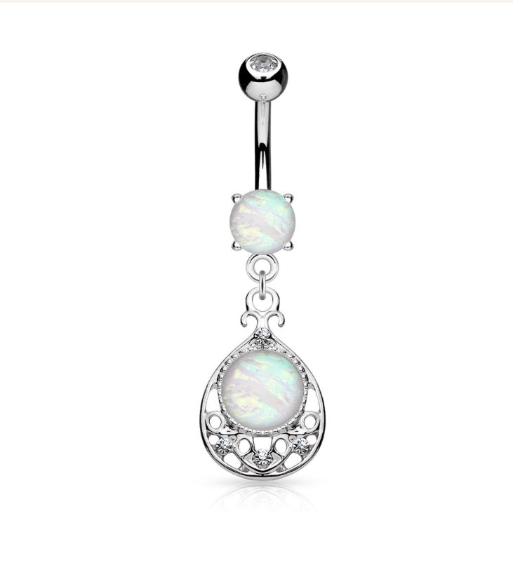 Silver Opal Glitter Vintage Belly Ring