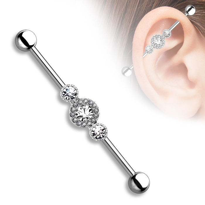 Three CZ Centered Industrial Barbell