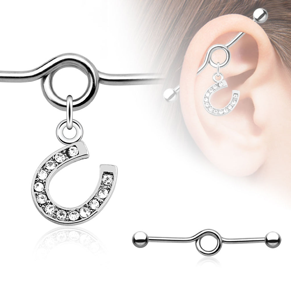 Horseshoe Charm Industrial Barbell