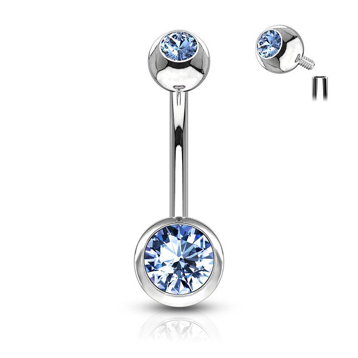 Internally Threaded Belly Ring - Lt Blue