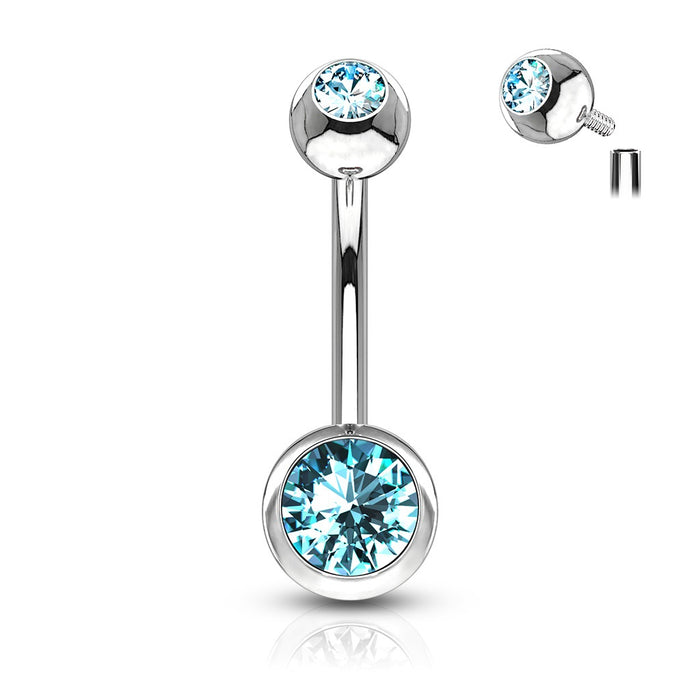 Internally Threaded Belly Button Rings - Aqua