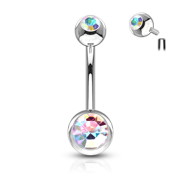 Internally Threaded Belly Ring - Iridescent