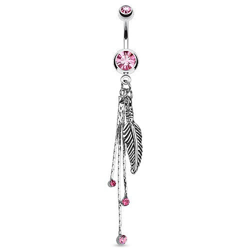 Long Dangle Leaf Belly Button Ring - Pink