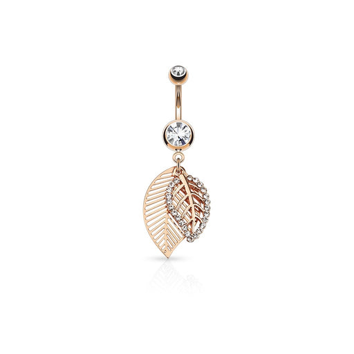 Rose Gold Leaf Layered Belly Ring