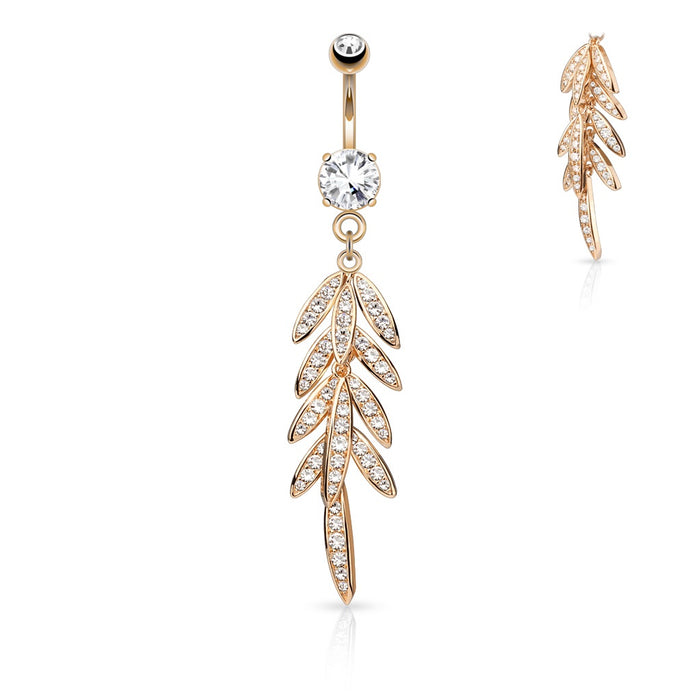 Dangling CZ Leaves Belly Ring - Rose Gold