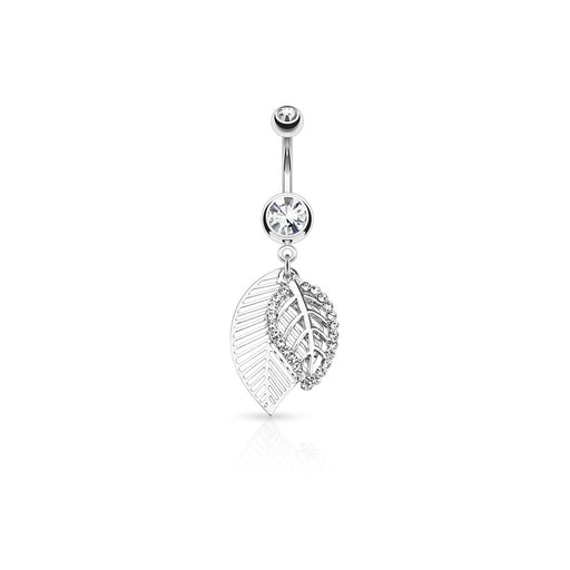 Clear Gem Silver Leaf Layered Belly Ring