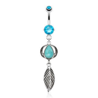 Leaf Belly Button Ring - Turquoise Stone