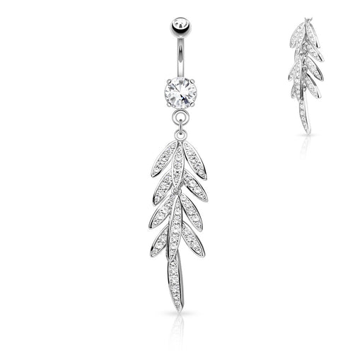 Dangling CZ Leaves Belly Ring
