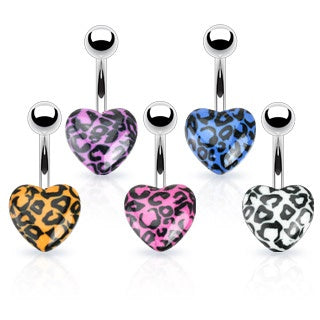 Leopard Print Heart Belly Ring