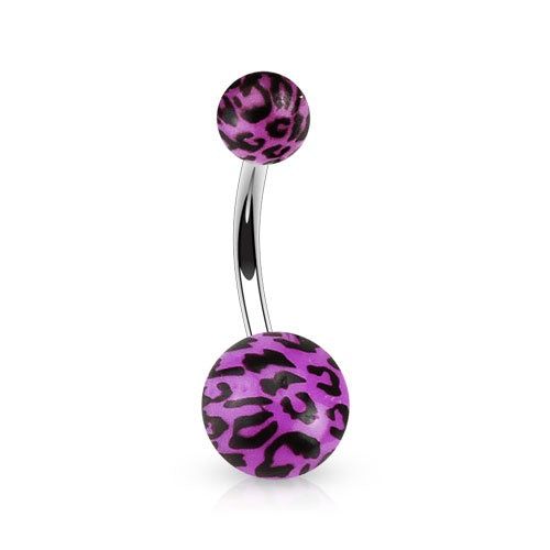 Purple Leopard Print Belly Button Ring