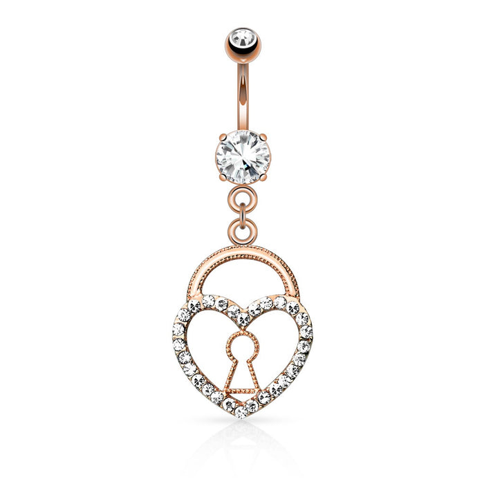 Rose Gold Keyhole Heart Lock with Paved Gems Belly Ring