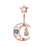 Opal Moon Star Belly Ring Rose Gold