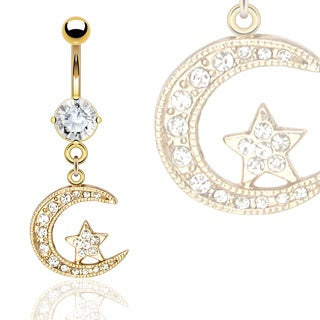 14kt Gold Plated Moon & Star CZ Belly Ring
