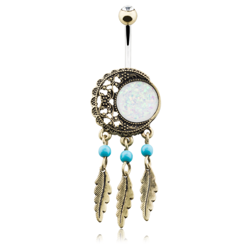 Vintage Boho Moon Dreamcatcher Opal Belly Ring