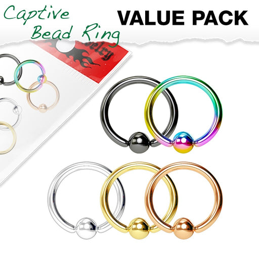5 Pack Captive Bead Rings
