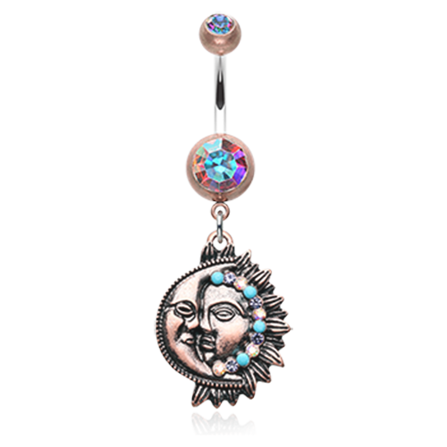 Boho Sun and Moon Belly Ring