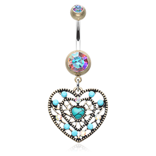 Boho Turquoise Heart Belly Ring