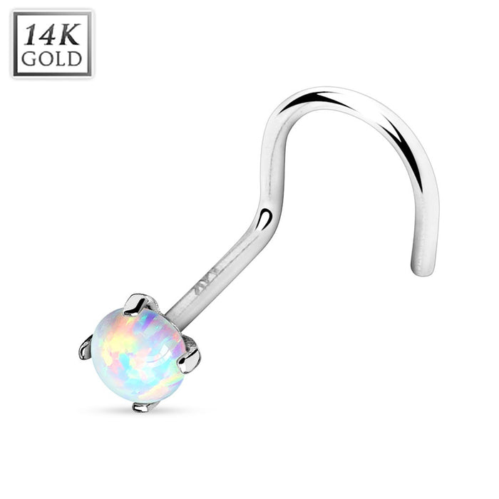 14K White Gold Nose Screw with Opalite