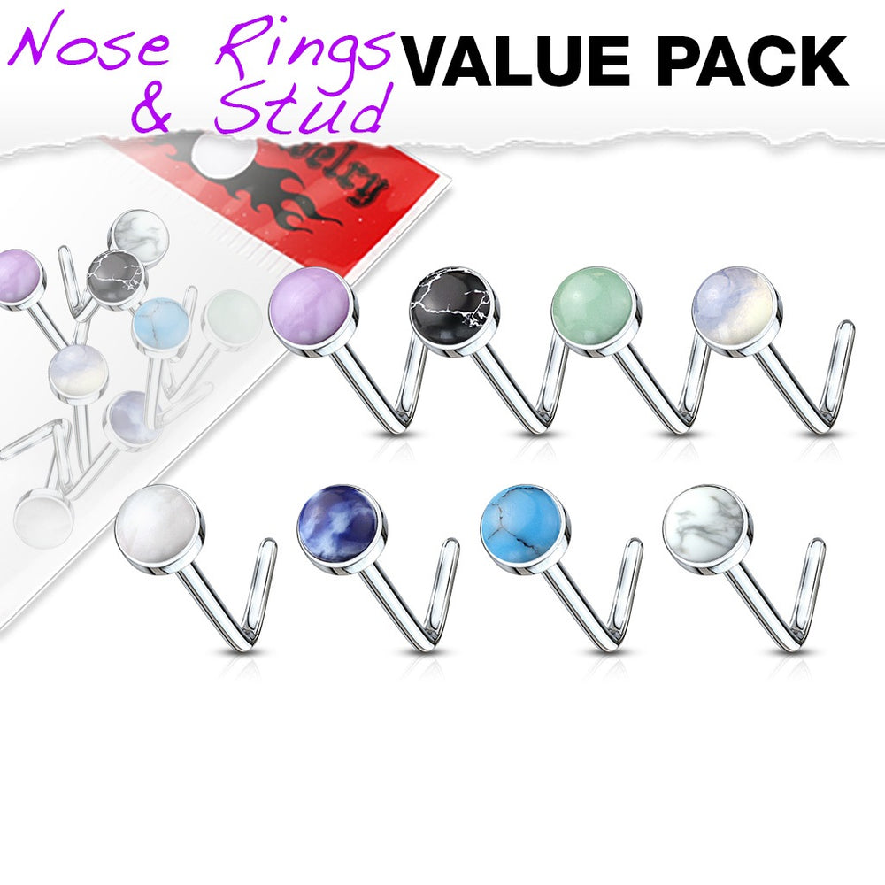 8 Pack Semi Precious Stone L Bend Nose Rings
