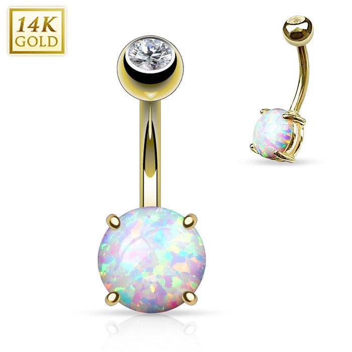 14K Gold with Prong Set Opal Belly Ring