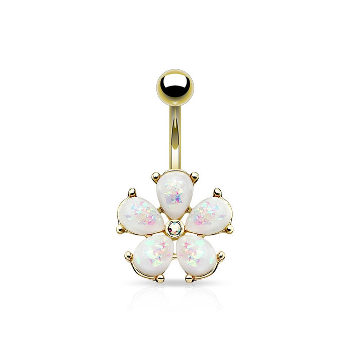 Opal Glitter Flower Belly Ring - Gold