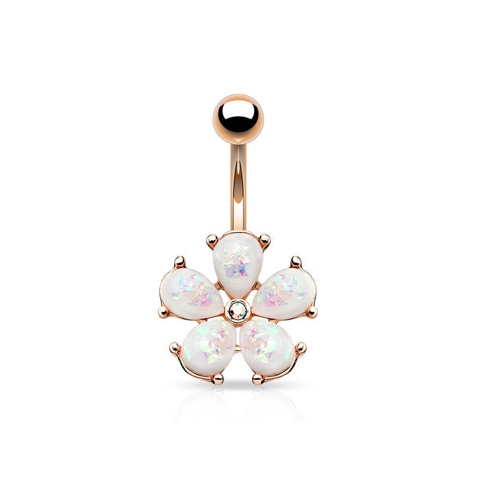 Rose Gold Opal Glitter Flower Belly Ring